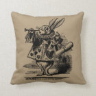Vintage Alice in Wonderland White Rabbit as Herald Throw Pillow