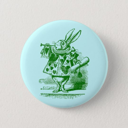 Vintage Alice in Wonderland White Rabbit Button