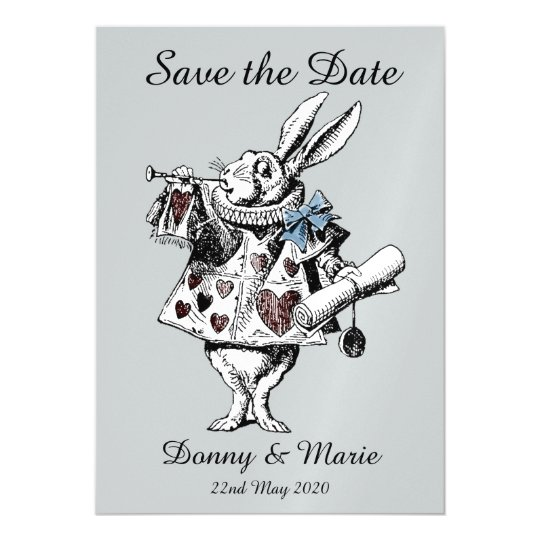 vintage alice in wonderland white rabbit date card zazzle