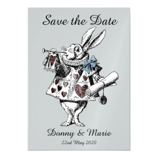 Vintage Alice in Wonderland White Rabbit Date Card Magnetic Invitations
