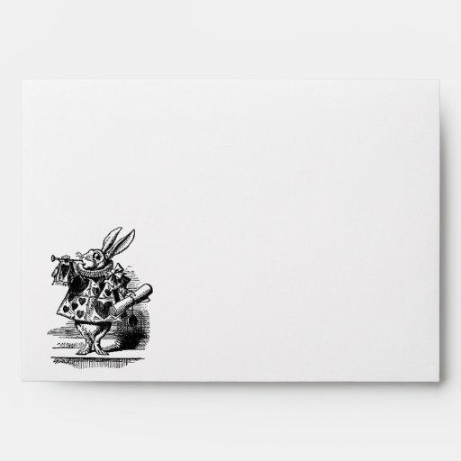 Vintage Alice in Wonderland, White Rabbit Herald Envelopes