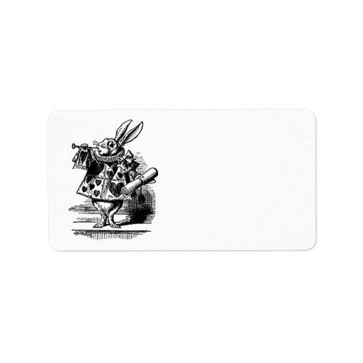 Vintage Alice in Wonderland, White Rabbit Herald Labels