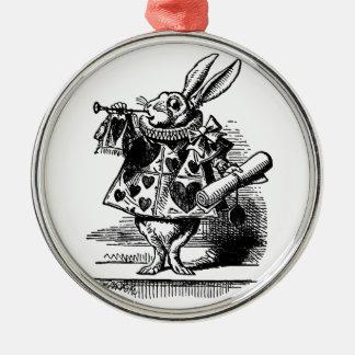 Vintage Alice in Wonderland White Rabbit Herald Ornaments