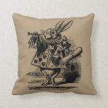 Vintage Alice in Wonderland, White Rabbit Herald Throw Pillows