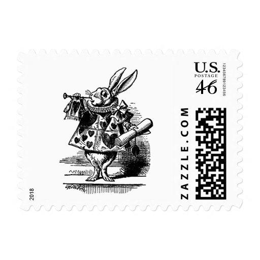 Vintage Alice in Wonderland, White Rabbit Herald Postage Stamp