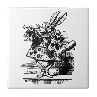 Vintage Alice in Wonderland White Rabbit Herald Ceramic Tile