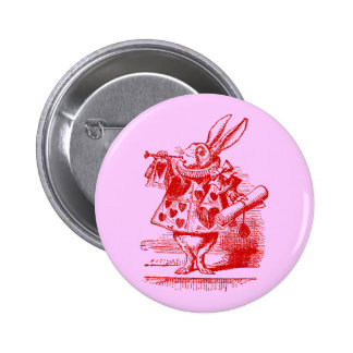 Vintage Alice in Wonderland White Rabbit Pinback Button