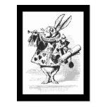 Hand shaped Vintage Alice in Wonderland White Rabbit Postcard