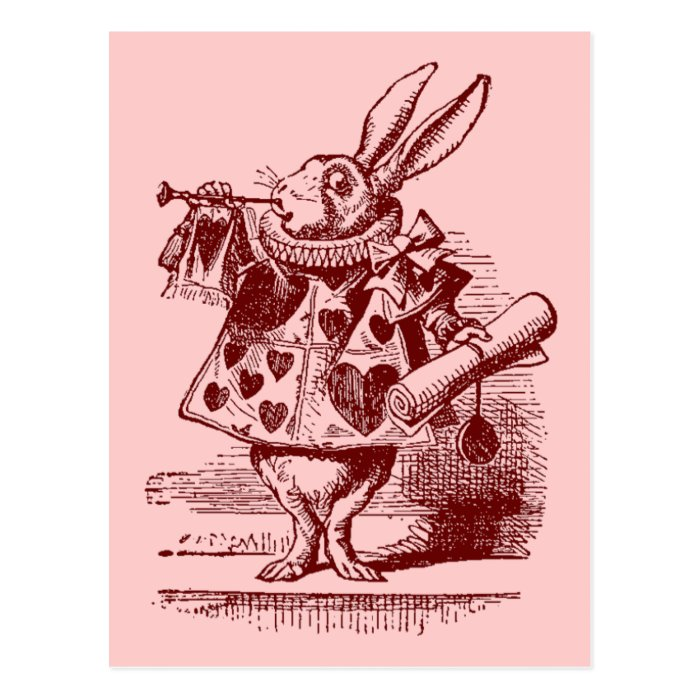 vintage alice in wonderland white rabbit postcard zazzle