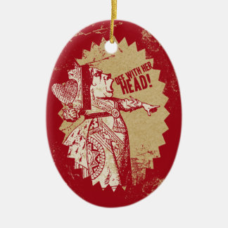 Vintage Alice Off With Her Head Double-Sided Oval Ceramic Christmas Ornament