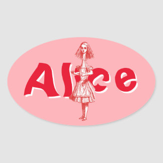 Vintage Alice Stretched in Wonderland Oval Sticker