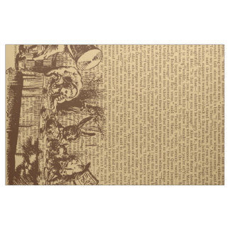 Vintage Alice Text And Border Brown Fabric