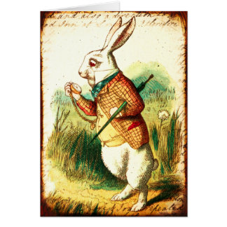 Vintage Alice, White Rabbit Card
