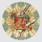 Vintage Alice White Rabbit Classic Round Sticker