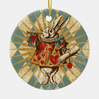 Vintage Alice White Rabbit Double-Sided Ceramic Round Christmas Ornament