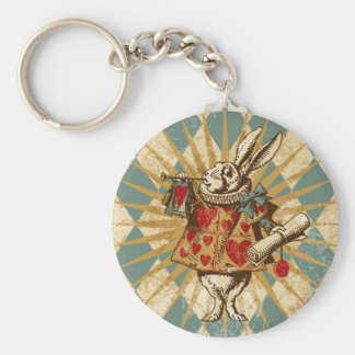 Vintage Alice White Rabbit Keychain