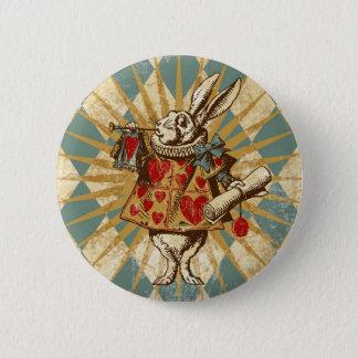 Vintage Alice White Rabbit Pinback Button