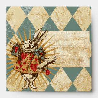 Vintage Alice White Rabbit Square Envelopes