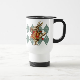 Vintage Alice White Rabbit Travel Mug