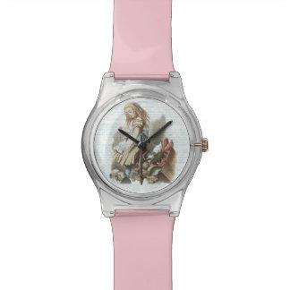 Vintage Alice Wonderland Antique Book Page Art Wristwatch