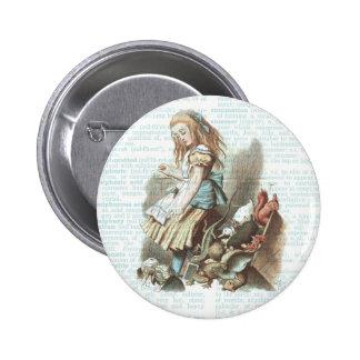 Vintage Alice Wonderland Favors Antique Book Page Pinback Button