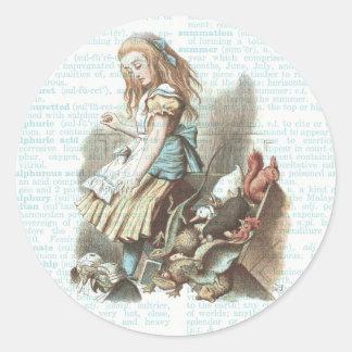 Vintage Alice Wonderland Tags Dictionary Page Blue