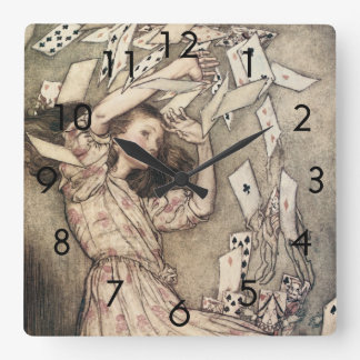 Vintage Alices Adventures in Wonderland by Rackham Square Wall Clock