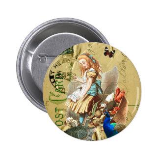 Vintage Alicia en collage del país de las maravill Pin Redondo 5 Cm