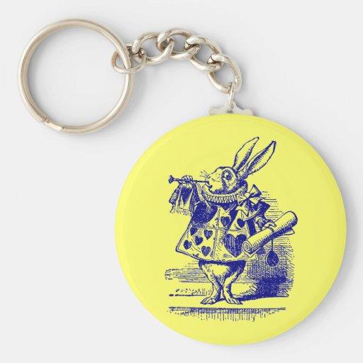 Vintage Alicia en conejo del blanco del país de la Llavero
