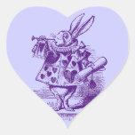 Vintage Alicia en conejo del blanco del país de Calcomanía Corazón