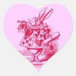 Vintage Alicia en conejo del blanco del país de Calcomania Corazon