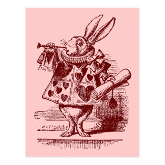 Vintage Alicia en conejo del blanco del país de Postal