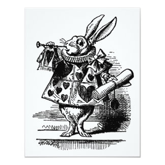 Vintage Alicia en el conejo blanco del país de las Invitación 10,8 X 13,9 Cm