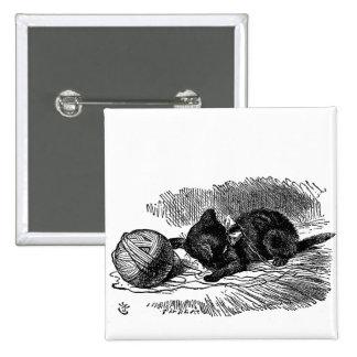 Vintage Alicia en el dibujo del libro del gato neg Pin Cuadrado