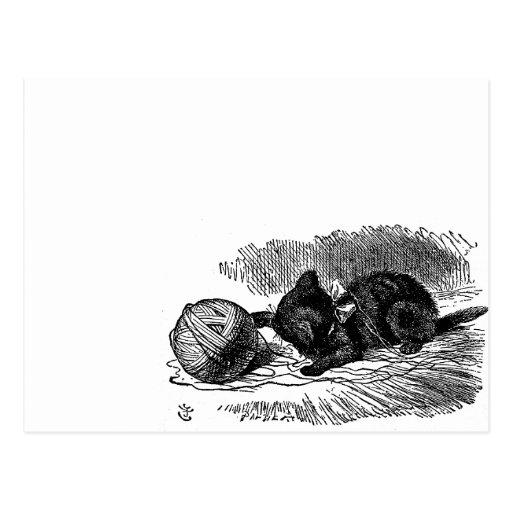 Vintage Alicia en el dibujo del libro del gato neg Postal