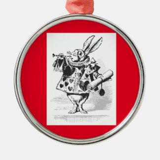 Vintage Alicia en el ornamento blanco del conejo Adorno Navideño Redondo De Metal