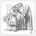 Vintage Alicia en el país de las maravillas que bu Calcomania Cuadradas Personalizadas