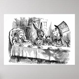 Vintage Alicia en fiesta del té enojada del Póster