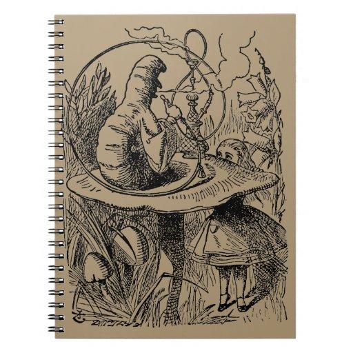 Vintage Alicia en la cachimba Caterpillar del país Libro De Apuntes Con Espiral