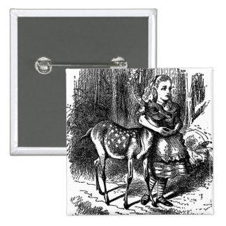 Vintage Alicia en la impresión del bambi del cerva Pin Cuadrada 5 Cm