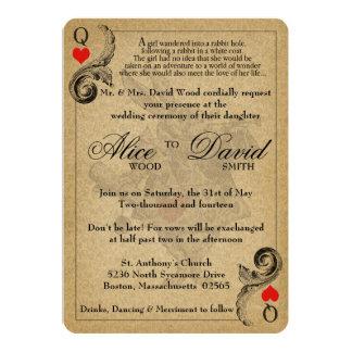 Vintage Alicia en la invitación del boda del país
