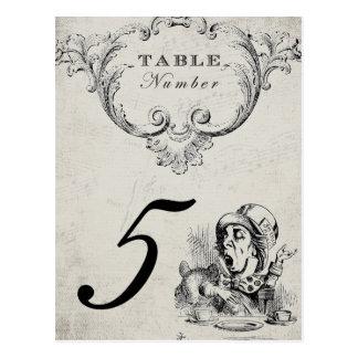Vintage Alicia en números de la tabla del boda del Postales