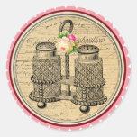 Vintage Alicia en pegatinas de la fiesta del té Etiquetas Redondas