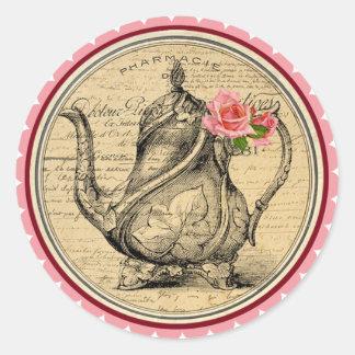 Vintage Alicia en pegatinas de la fiesta del té Pegatina Redonda