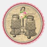 Vintage Alicia en pegatinas de la fiesta del té Pegatinas Redondas
