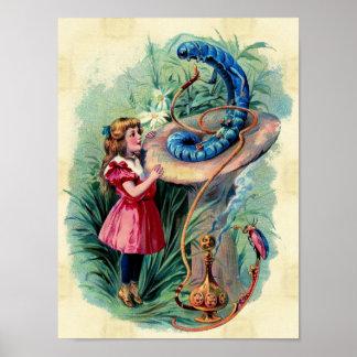 Vintage Alicia en poster del país de las maravilla