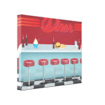 Vintage All American Diner Gallery Wrapped Canvas