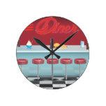 Vintage All American Diner Round Wallclock