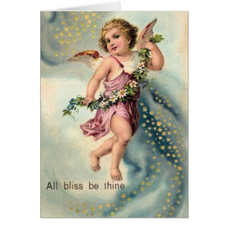 "Vintage ""All Bliss be Thine"" Angel Christmas Card"