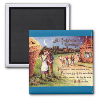 Vintage All Halloween Greeting Couple 2 Inch Square Magnet